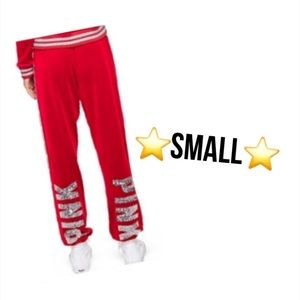 small vs pink red velour bling classic joggers